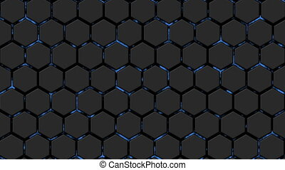 Abstract background with animation of energy ocean. Hexagon wall.