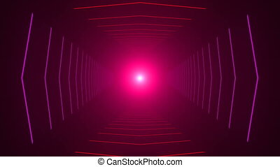 Abstract background with animation of flight in abstract futuristic tunnel with neon light