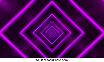 Abstract background with animation of flight in abstract futuristic tunnel with neon purple light. Animation of seamless loop.