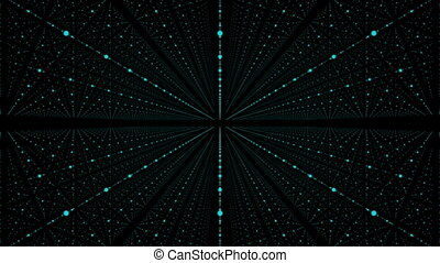 Abstract background with animation of flying into technology tunnel from geometry points.