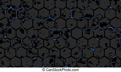 Abstract background with animation of energy flow. Hexagon wall.Seamless loop. 2