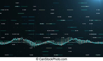 Abstract background with animation of growing charts and...