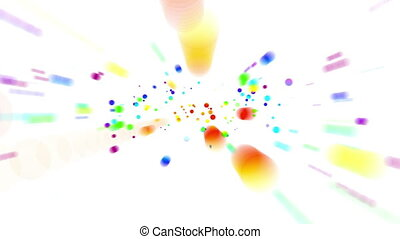 Abstract background with animation of moving colorful luminous circles on white