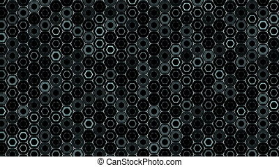 Abstract background with animation of wave mosaic of hexagons. Technological backdrop.