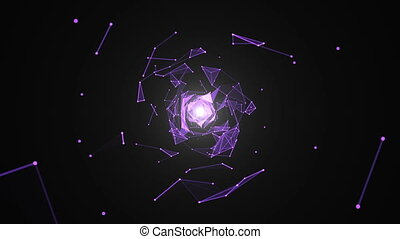 Abstract background with beautiful rotating triangles and flares