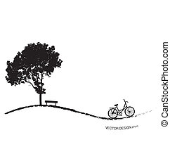 Abstract background with bicycle under tree. Vector...