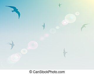 Background With Birds In The Sky.