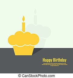 Abstract background with birthday cupcake and lighted candle...