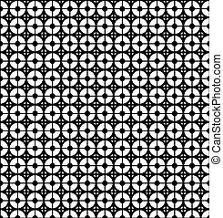 Abstract background with black and white circles and lines. Seamless pattern.