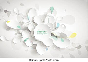 Abstract background with black and white paper flower petals.