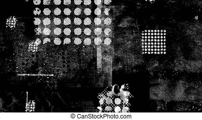 Abstract background with black and white stripes and geometric shapes in motion 4k
