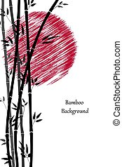 Abstract background with black bamboo and red sun. Frame with branches and leaves of bamboo on a white background. Minimalistic style for your design. Vector