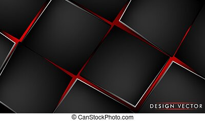Abstract background with black cube and red light. 3D vector illustration