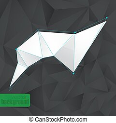abstract background with black triangles and a white banner