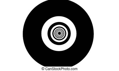 Abstract background with black white tunnel. Seamless loop