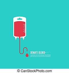 Abstract background with blood bag. Icon donation. Vector...