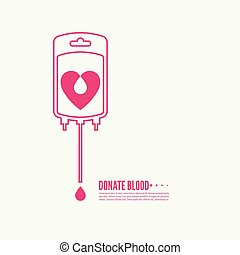 Abstract background with blood bag. Icon donation with...