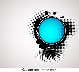 abstract background with blue badge