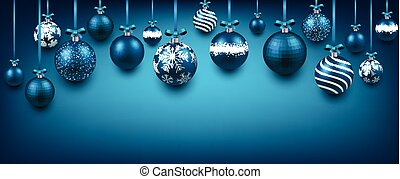 Abstract background with blue christmas balls.