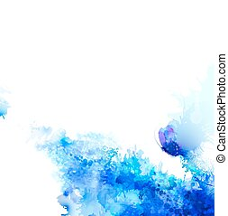Abstract background with blue composition of watercolor blots and butterfly.