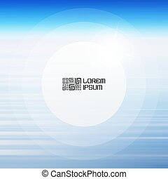 Abstract background with blue sky and clouds. Round frame with place for text. Vector illustration.