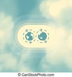 Abstract background with blue sky and clouds. Vector illustration.