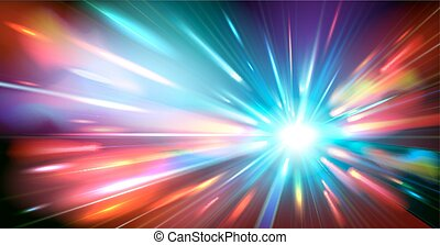 Abstract background with blurred magic neon color light rays. Vector illustration