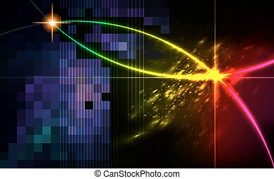 Abstract background with blurred neon light dots.