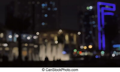 Abstract background with bokeh. Night city.