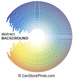 Abstract background with bright colorful lines. Blue and yellow circles with place for your text