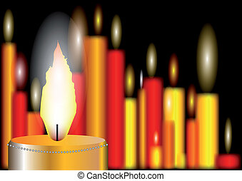 abstract background with burning candles