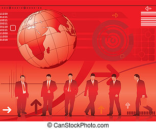 Abstract Background with Business Silhouettes - Abstract...
