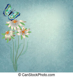 abstract background with butterfly and flowers - abstract ...