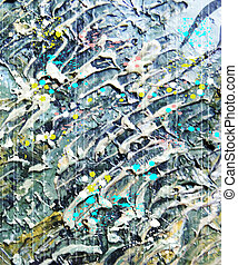 Abstract background with butterfly. Oil paints on canvas