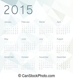 Abstract background with calendar 2015. Vector.