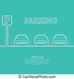 Abstract background with cars and road sign