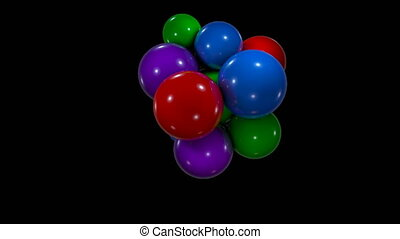 Abstract background with chaotic movement colorful spheres....