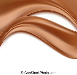 abstract background with chocolate waves flowing on white. vector illustration