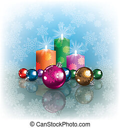 background with Christmas decorations and candles