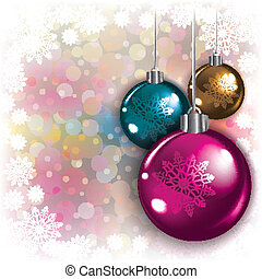 Abstract background with Christmas decorations and...