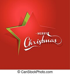 Abstract background with Christmas star and Merry Christmas text.