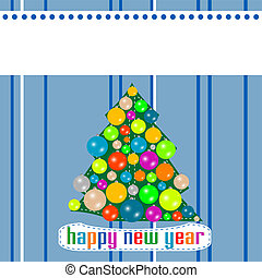 Abstract background with Christmas tree balls. Happy New Year