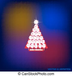 Abstract background with christmas tree and stars. Vector illustration in blue, red and white colors.