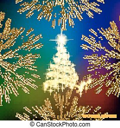Abstract background with christmas tree. Illustration in different colors. Vector illustration.