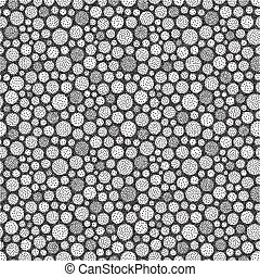 Abstract background with circles. Black and white grainy...