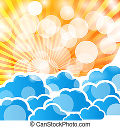abstract background with clouds and rays