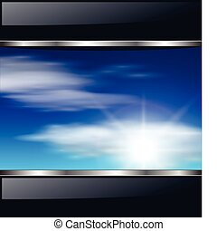 Abstract background with clouds and sunny sky, vector.