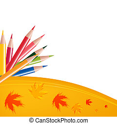 Abstract background with color pencils and leaves. Back to school concept.