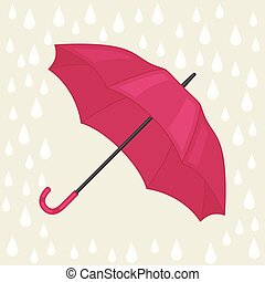 Abstract background with colored umbrella and rain drops