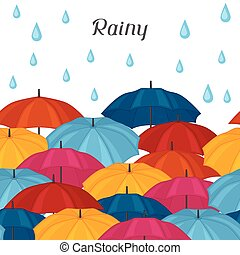 Abstract background with colored umbrellas and rain drops